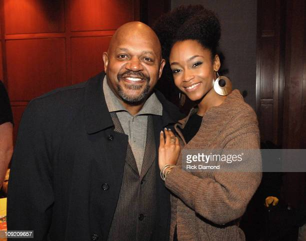 America's Top Model Yaya DaCosta and Actor Charles Dutton chat in The Green Room before the screening of HONEYDRIPPER a celebration for Hands on...