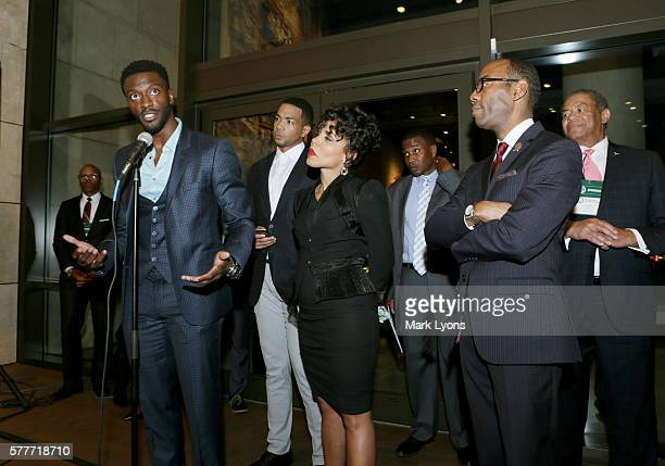 America's 'Underground' stars Aldis Hodge Alano Miller Amirah Vann attend as NAACP President Dr Cornell William Brooks listens during the NAACP...