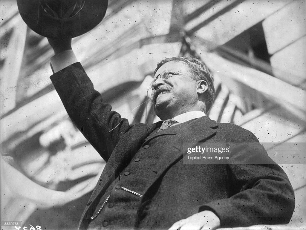 America's youngest president, Theodore Roosevelt (1858 - 1919), who succeeded William McKinley after his assassination. Roosevelt was a popular leader and the first American to receive the Nobel Peace Prize, which was awarded for his mediation in the Russo-Japanese war.