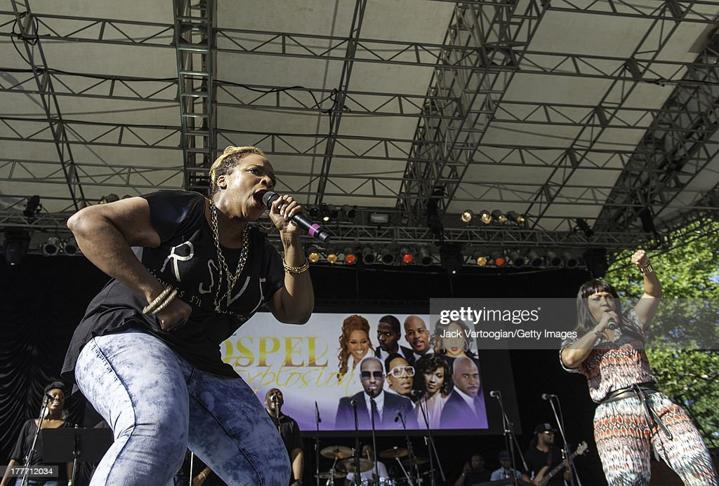 Americna Gospel singers Kierra Sheard and Erica Campbell onehalf of Gospel group Mary Mary perform at the WLIB 6th Annual Gospel Explosion at Central...