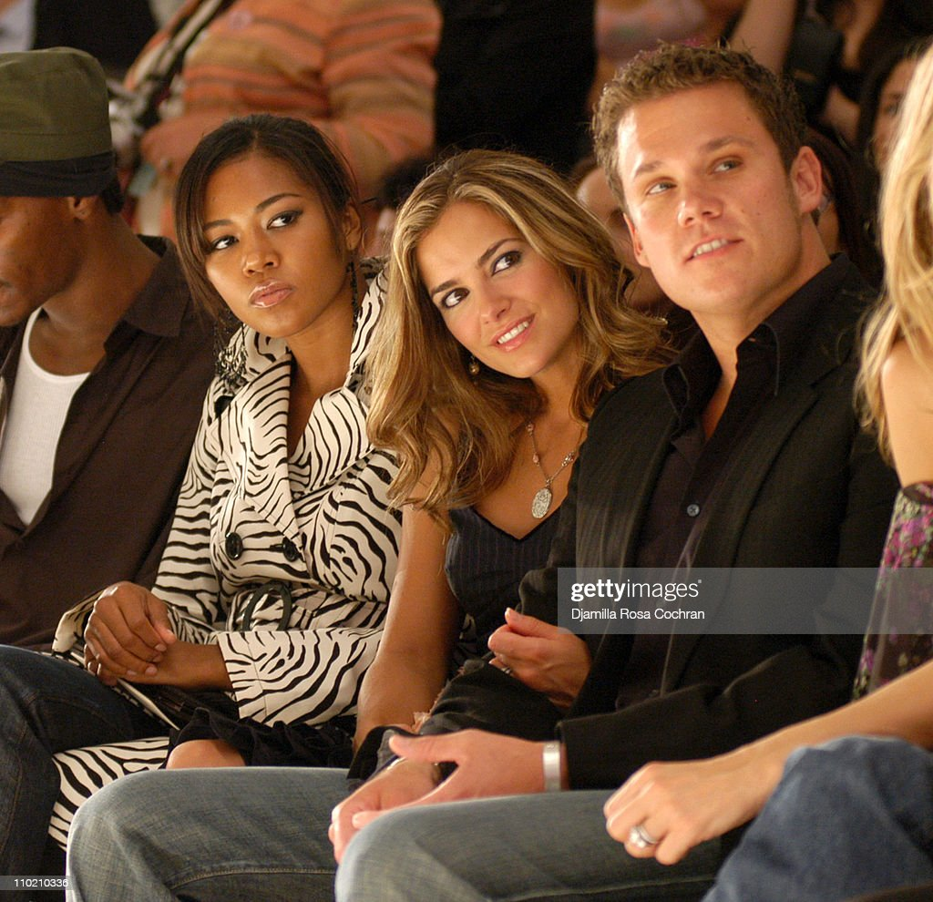 Amerie, Rebecca Budig and Bob Guiney during Olympus Fashion Week Spring 2005 - Nanette Lepore - Front Row and Backstage at Plaza Tent, Bryant Park in New York City, New York, United States.