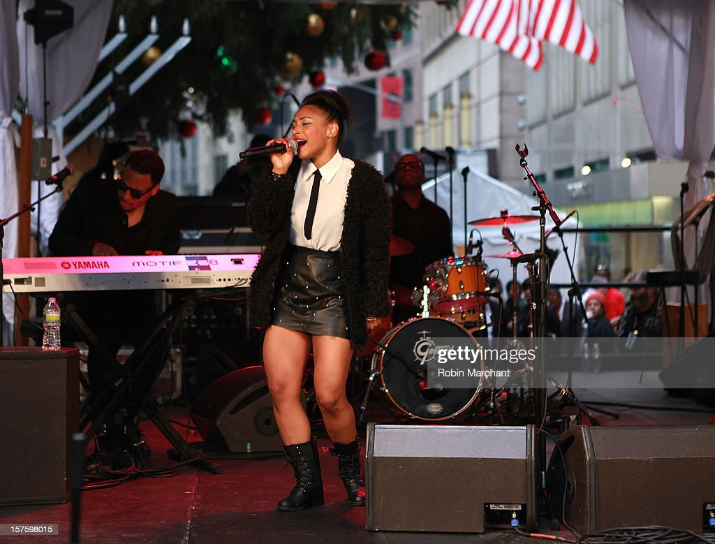 Amerika DeLuna performs at NYSE Euronext 89th Annual NYSE Christmas Tree Lighting Celebration at New York Stock Exchange on December 4, 2012 in New York City.