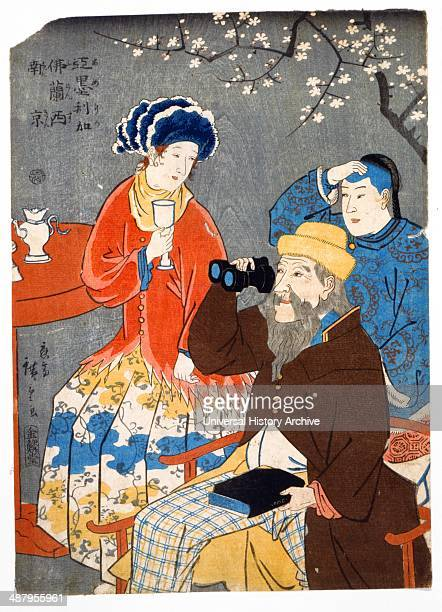 Amerika Furansu Nankin by Hiroshige Utagawa 18261869 Japanese artist 1860 Japanese print shows three spectators viewing an unseen object or event a...