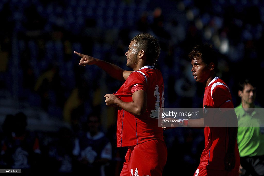 Amet Ramirez of Panama celebrates score a goal against Jamaica during the championship game of the U-20 CONCACAF zone in the Cuauhtemoc stadium on February 23, 2013 in Puebla, Mexico