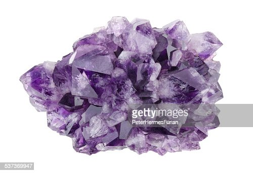 Amethyst Directly Above Over White Background : Stock Photo