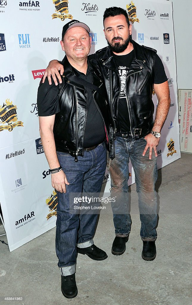 amfAR CEO Kevin Frost (L) and President, Kiehl's USA <a gi-track='captionPersonalityLinkClicked' href=/galleries/search?phrase=Chris+Salgardo&family=editorial&specificpeople=5384803 ng-click='$event.stopPropagation()'>Chris Salgardo</a> attend Kiehl's LifeRide for amfAR co-hosted by FIJI Water on August 12, 2014 in New York City.