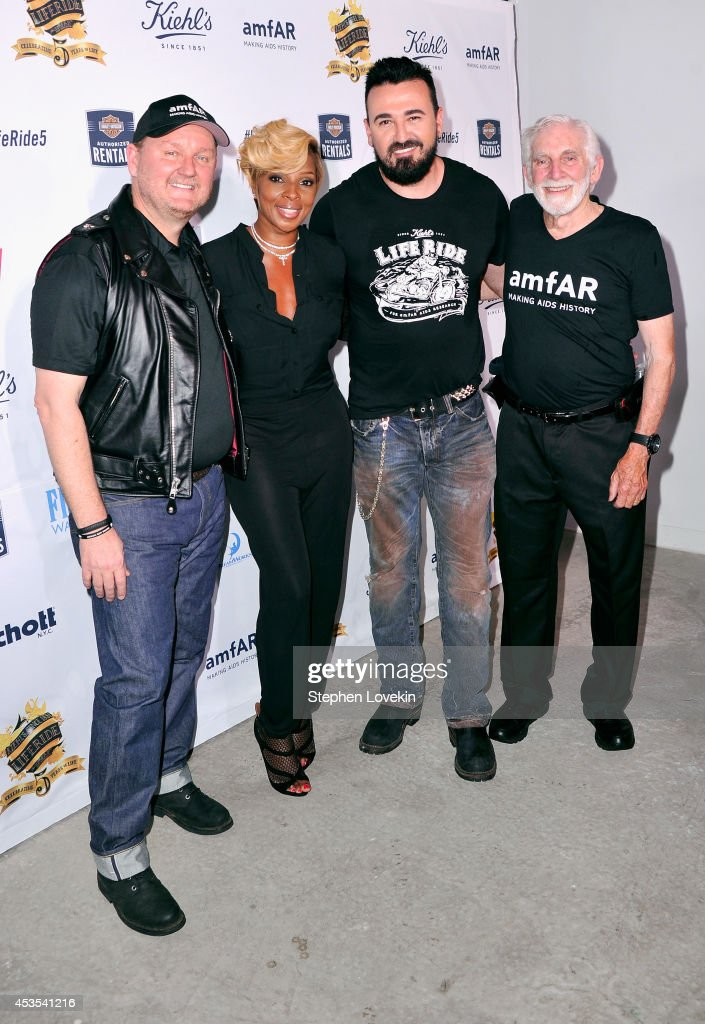 amfAR CEO Kevin Frost, <a gi-track='captionPersonalityLinkClicked' href=/galleries/search?phrase=Mary+J.+Blige&family=editorial&specificpeople=171124 ng-click='$event.stopPropagation()'>Mary J. Blige</a>, President, Kiehl's USA <a gi-track='captionPersonalityLinkClicked' href=/galleries/search?phrase=Chris+Salgardo&family=editorial&specificpeople=5384803 ng-click='$event.stopPropagation()'>Chris Salgardo</a> and amfAR Trustee Dr. Mervyn Silverman attend Kiehl's LifeRide for amfAR co-hosted by FIJI Water on August 12, 2014 in New York City.