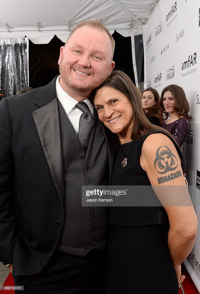 amfAR CEO Kevin Robert Frost and Honoree Aileen Getty attend the 2013 amfAR Inspiration Gala Los Angeles presented by MAC Viva Glam at Milk Studios...