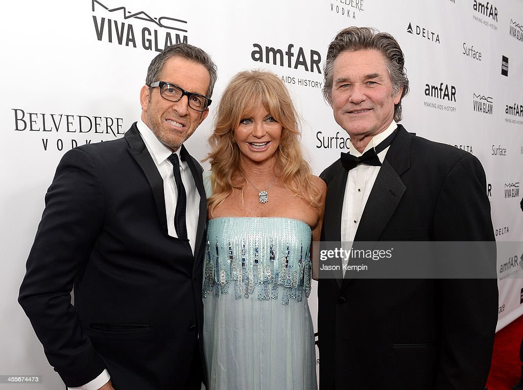 amfAR Chairman Kenneth Cole, honoree Goldie Hawn and actor Kurt Russell attend the 2013 amfAR Inspiration Gala Los Angeles at Milk Studios on December 12, 2013 in Los Angeles, California.