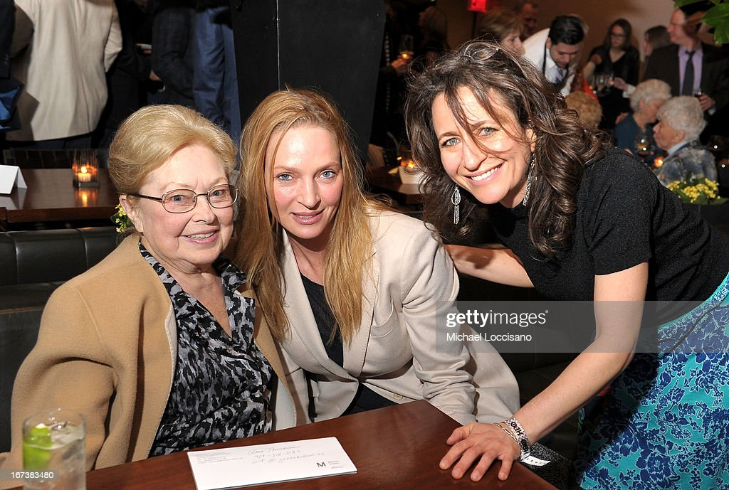 amfAR Founding Chairman Dr. Mathilde Krim, actress Uma Thurman and SVP of HBO Documentary Films Lisa Heller attend HBO's 'The Battle of amfAR' premiere at Tribeca Film Festival on April 24, 2013 in New York City.