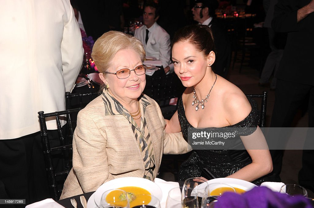 amfAR Founding Chairman Dr. <a gi-track='captionPersonalityLinkClicked' href=/galleries/search?phrase=Mathilde+Krim&family=editorial&specificpeople=220579 ng-click='$event.stopPropagation()'>Mathilde Krim</a> and Actress <a gi-track='captionPersonalityLinkClicked' href=/galleries/search?phrase=Rose+McGowan&family=editorial&specificpeople=206451 ng-click='$event.stopPropagation()'>Rose McGowan</a> attend the 3rd annual amfAR Inspiration Gala New York at The New York Public Library - Stephen A. Schwarzman Building on June 7, 2012 in New York City.
