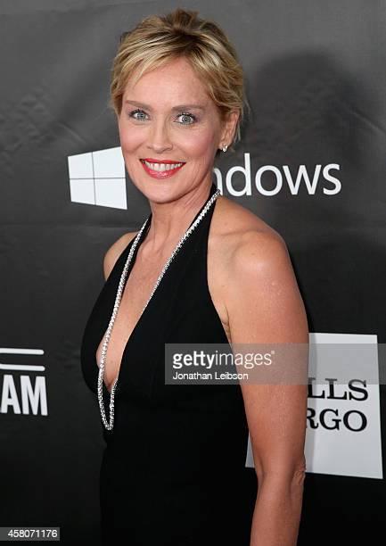 amfAR Global Fundraising Chairman Sharon Stone attends amfAR LA Inspiration Gala honoring Tom Ford at Milk Studios on October 29 2014 in Hollywood...
