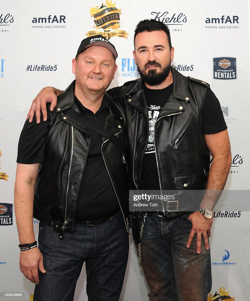 CEO amfAR Kevin Frost (L) and President Kiehl's USA <a gi-track='captionPersonalityLinkClicked' href=/galleries/search?phrase=Chris+Salgardo&family=editorial&specificpeople=5384803 ng-click='$event.stopPropagation()'>Chris Salgardo</a> attend the 5th Annual Kiehl's LifeRide for amfAR Finale Celebration on August 12, 2014 in New York City.