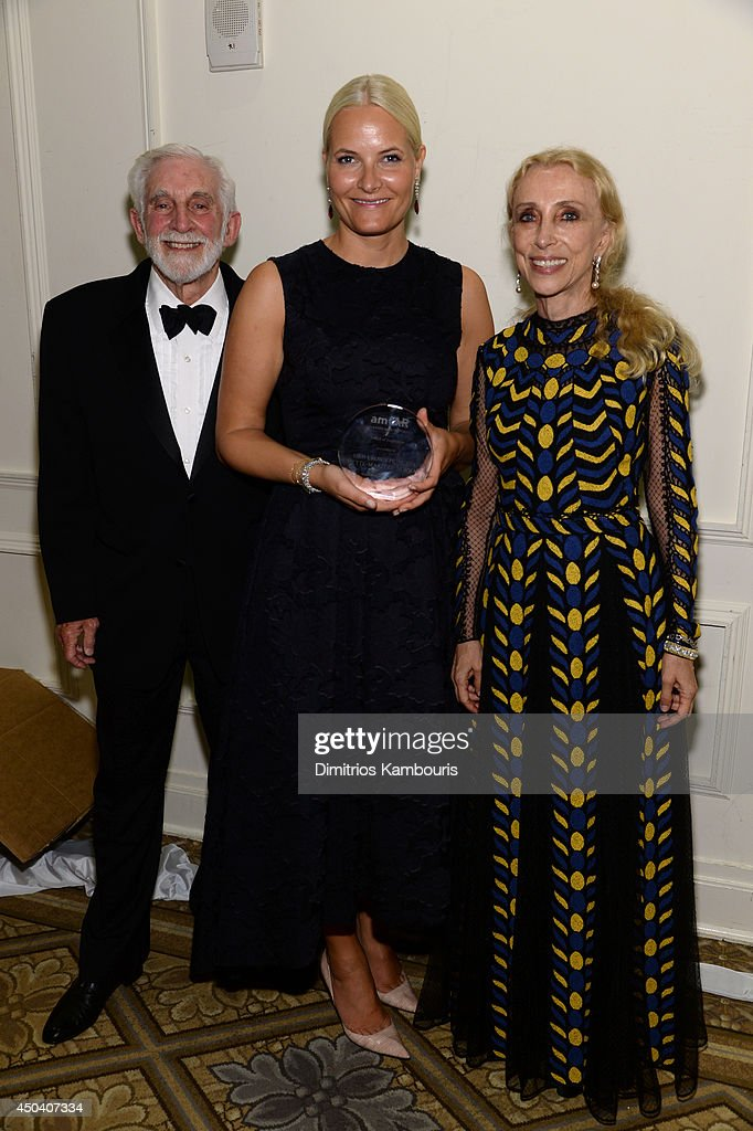 amfAR Trustee Dr. Mervyn Silverman, HRH Crown Princess Mette-Marit of Norway, Editor-in-chief of Vogue Italia Franca Sozzan attend other onstage at the amfAR Inspiration Gala New York 2014 at The Plaza Hotel on June 10, 2014 in New York City.