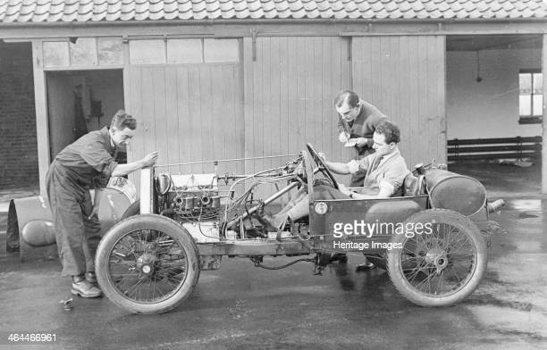 Amherst Villiers and a mechanic taking the revs of a Bugatti Cordon Rouge c1920s Villiers was an engineer who developed superchargers being...