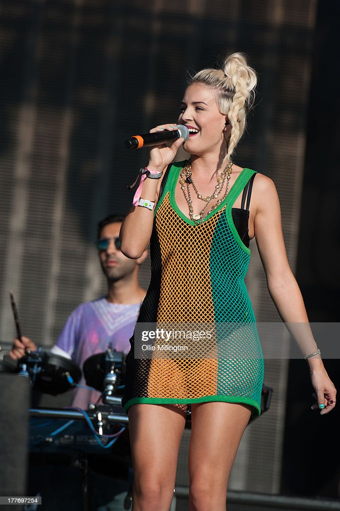 Ami Amor and Sinead Harnett of rudimental perform on stage on Day 1 of Global Gathering 2013 on July 27, 2013 in Stratford-upon-Avon, England.
