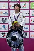 Ami Kondo of Japan poses after winning the women's 48kg competition as part of the World Judo Masters Guadalajara 2016 at Adolfo Lopez Mateos Sports...
