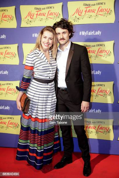 Ami Lehpalmer and Tom Hobbs arrive ahead of opening night of My Fair Lady at Regent Theatre on May 16 2017 in Melbourne Australia