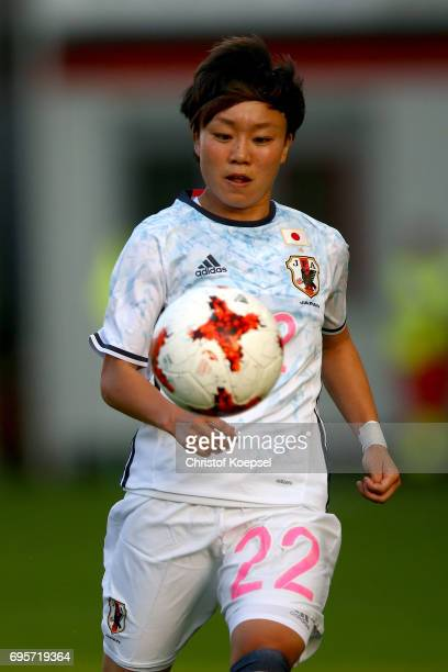 Ami Sugita of Japan runs with the ball during the Women's International Friendly match between Belgium and Japan at Stadium Den Dreef on June 13 2017...