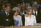Amid a sprinkle of confetti Vice Presidential Nominee Al Gore and his wife Tipper stand beside Presidential Nominee Bill Clinton and his wife Hillary...