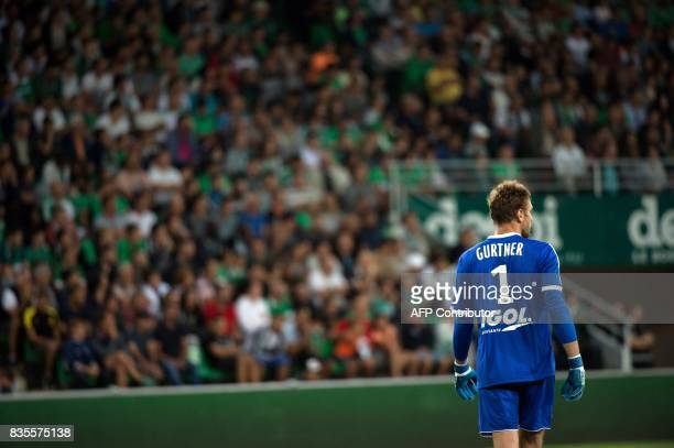 Amiens' French goalkeeper Regis Gurtner looks on during the French L1 football match between SaintEtienne and Amiens on August 19 at the Geoffroy...