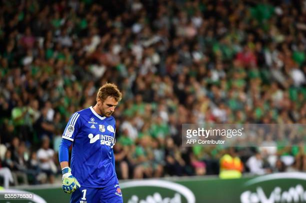Amiens' French goalkeeper Regis Gurtner looks to the pitch during the French L1 football match between SaintEtienne and Amiens on August 19 at the...