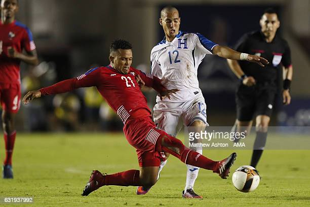 Amilcar Henriquez of Panama and Marcelo Canales of Honduras during the Copa Centroamericana 2017 tournament between Panama and Honduras at Estadio...