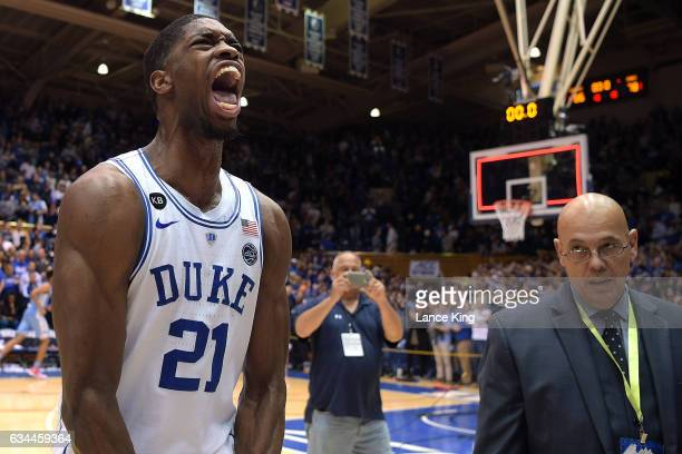 Amile Jefferson of the Duke Blue Devils celebrates following their game against the North Carolina Tar Heels at Cameron Indoor Stadium on February 9...