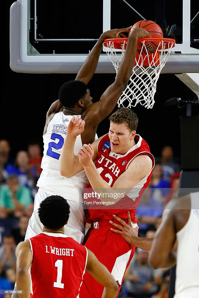 <a gi-track='captionPersonalityLinkClicked' href=/galleries/search?phrase=Amile+Jefferson&family=editorial&specificpeople=7887115 ng-click='$event.stopPropagation()'>Amile Jefferson</a> #21 of the Duke Blue Devils dunks over <a gi-track='captionPersonalityLinkClicked' href=/galleries/search?phrase=Jakob+Poeltl&family=editorial&specificpeople=13735338 ng-click='$event.stopPropagation()'>Jakob Poeltl</a> #42 of the Utah Utes during a South Regional Semifinal game of the 2015 NCAA Men's Basketball Tournament at NRG Stadium on March 27, 2015 in Houston, Texas.