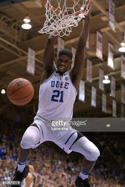 Amile Jefferson of the Duke Blue Devils dunks the ball against the Wake Forest Demon Deacons at Cameron Indoor Stadium on February 18 2017 in Durham...