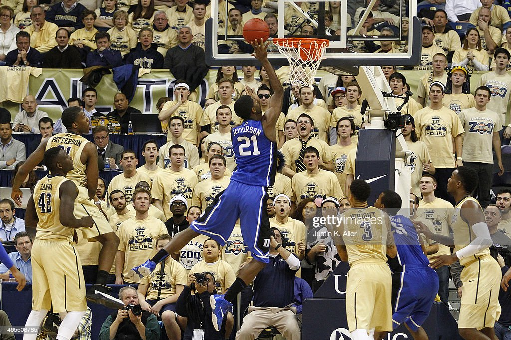 Amile Jefferson #21 of the Duke Blue Devils lays one in against the Pittsburgh Panthers at Petersen Events Center on January 27, 2014 in Pittsburgh, Pennsylvania.