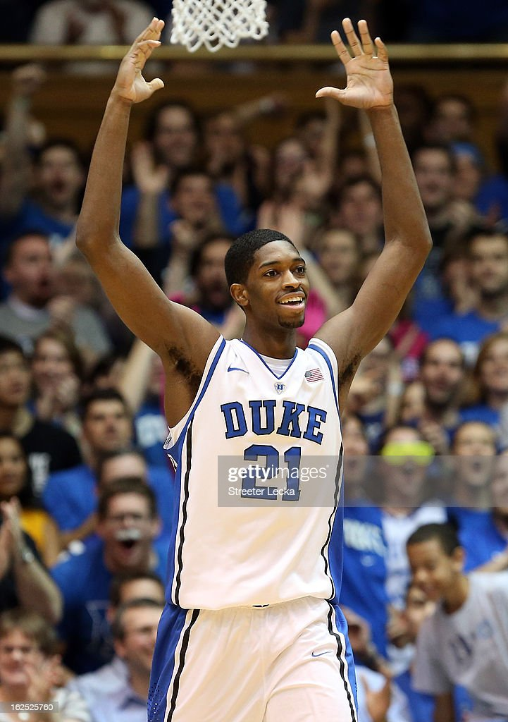 Amile Jefferson #21 of the Duke Blue Devils reacts after a play during their game against the Boston College Eagles at Cameron Indoor Stadium on February 24, 2013 in Durham, North Carolina.