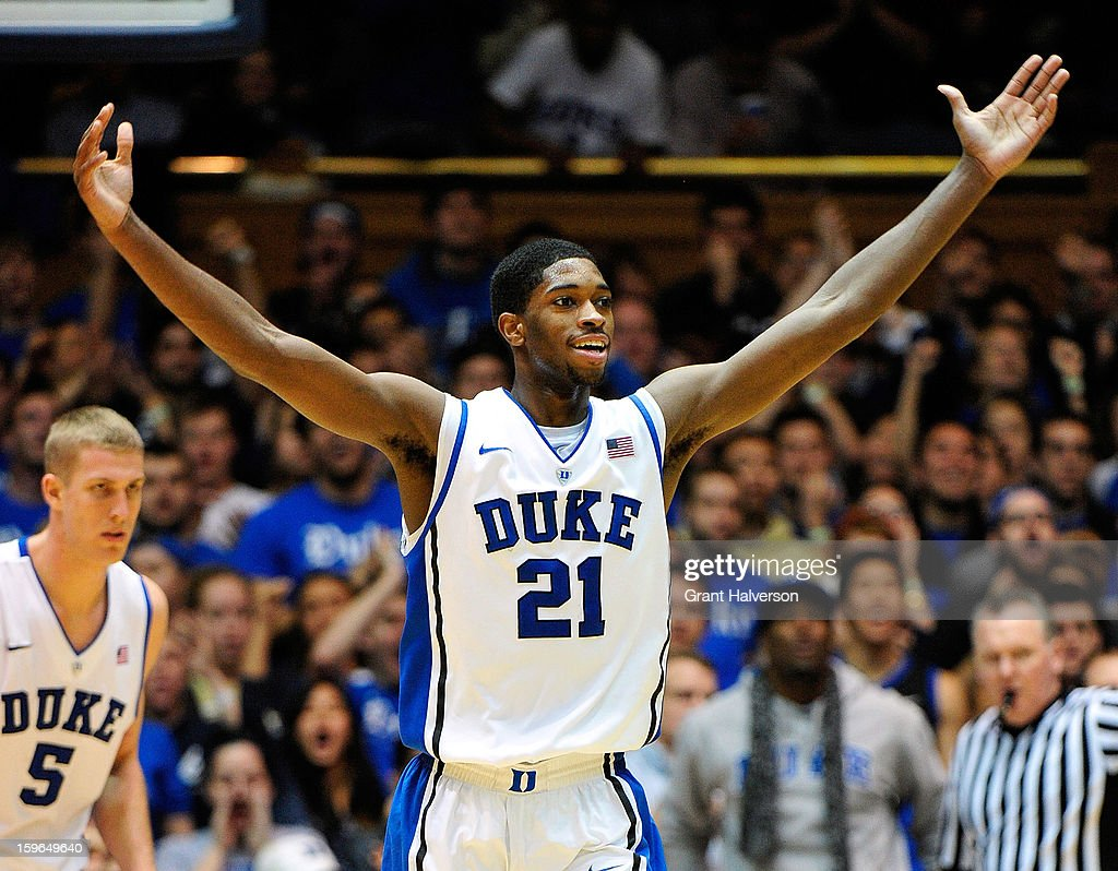 Amile Jefferson #21 of the Duke Blue Devils reacts during a win over the Georgia Tech Yellow Jackets at Cameron Indoor Stadium on January 17, 2013 in Durham, North Carolina. Duke won 73-57.