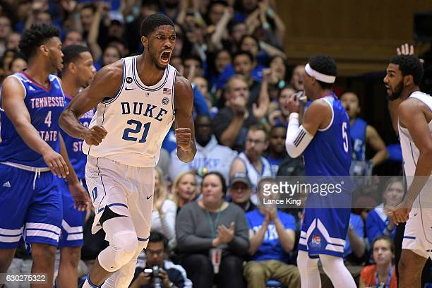 Amile Jefferson of the Duke Blue Devils reacts during their game against the Tennessee State Tigers at Cameron Indoor Stadium on December 19 2016 in...