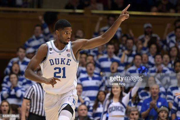 Amile Jefferson of the Duke Blue Devils reacts during their game against the Pittsburgh Panthers at Cameron Indoor Stadium on February 4 2017 in...