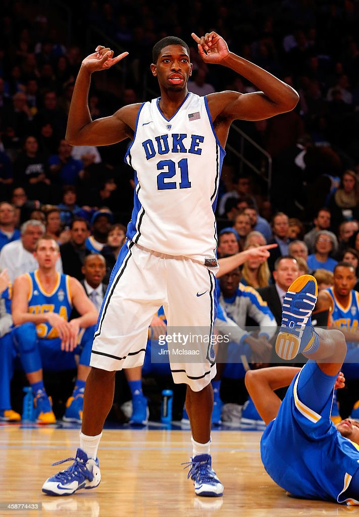 Amile Jefferson #21 of the Duke Blue Devils reacts to a call against the UCLA Bruins during the CARQUEST Auto Parts Classic on December 19, 2013 at Madison Square Garden in New York City. Duke defeated UCLA