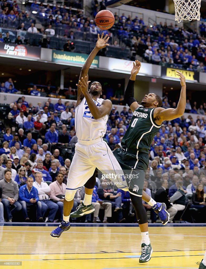 Amile Jefferson #21 of the Duke Blue Devils shoots the ball during the game against the Michigan State Spartans in the State Farm Champions Classic at Bankers Life Fieldhouse on November 18, 2014 in Indianapolis, Indiana.
