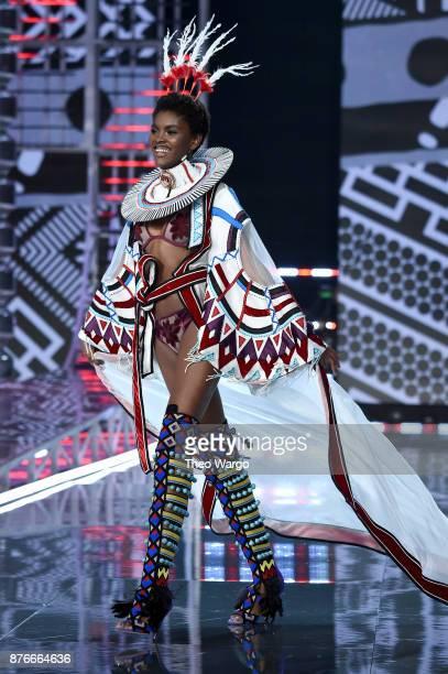 Amilna Estevao walks the runway during the 2017 Victoria's Secret Fashion Show In Shanghai at MercedesBenz Arena on November 20 2017 in Shanghai China