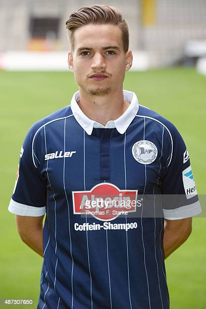 Amin Affane poses during the Second Bundesliga team presentation of Arminia Bielefeld at Schueco Arena on September 8 2015 in Bielefeld Germany