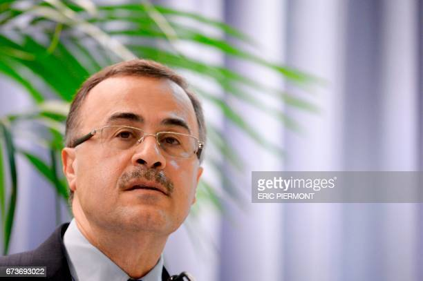 Amin alNasser Chief Executive of state oil company Saudi Aramco attends the 18th International Oil Summit in Paris on April 27 2017 / AFP PHOTO /...