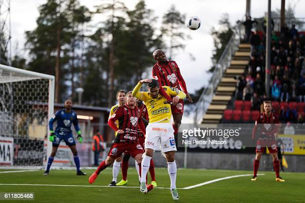 Amin Nazari of Falkenbergs FF and Fouad Bachirou of Ostersunds FK competes for the ballduring the Allsvenskan match between Ostersunds FK and...