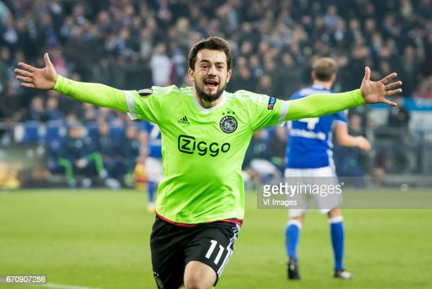 Amin Younes of Ajax 32during the UEFA Europa League quarter final match between Schalke 04 and Ajax Amsterdam on April 20 2017 at the VeltinsArena in...
