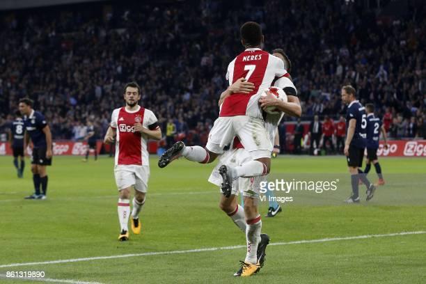Amin Younes of Ajax David Neres of Ajax Klaas Jan Huntelaar of Ajax during the Dutch Eredivisie match between Ajax Amsterdam and Sparta Rotterdam at...