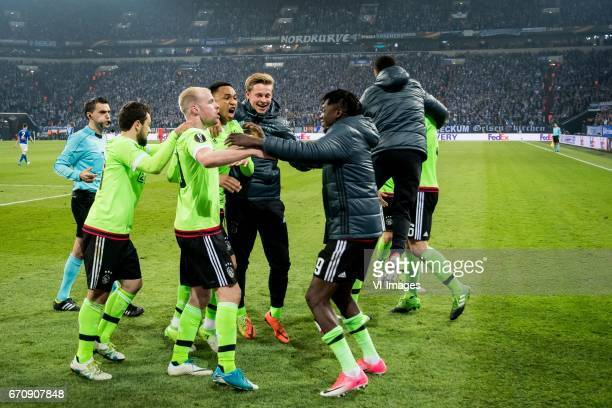 Amin Younes of Ajax Davy Klaassen of Ajax Kenny Tete of Ajax Frenkie de Jong of Ajax Bertrand Traore of Ajaxduring the UEFA Europa League quarter...