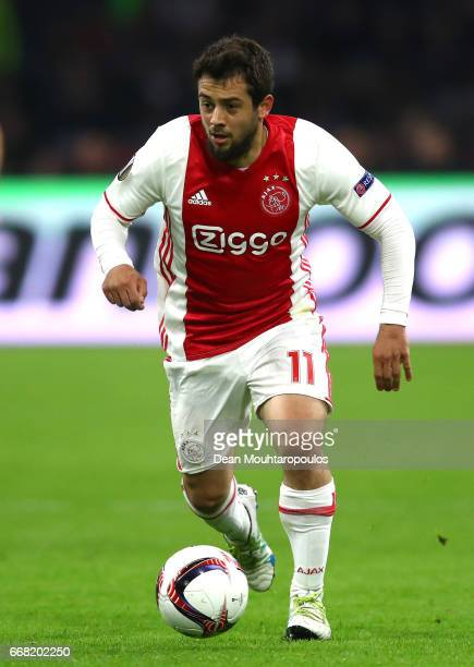Amin Younes of Ajax in action during the UEFA Europa League quarter final first leg match between Ajax Amsterdam and FC Schalke 04 at Amsterdam Arena...