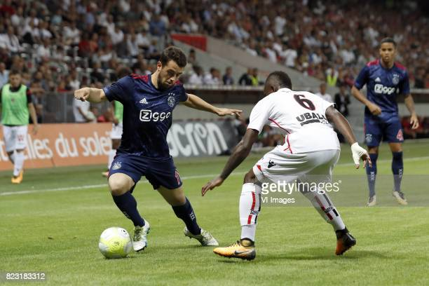 Amin Younes of Ajax Jean Michel Seri of OCG Nice Justin Kluivert of Ajax during the UEFA Champions League third round qualifying first leg match...