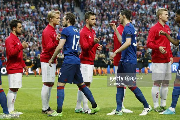 Amin Younes of Ajax Kasper Dolberg of Ajax Daley Blind of Manchester United Joel Veltman of Ajax Matteo Darmian of Manchester United Joel Veltman of...