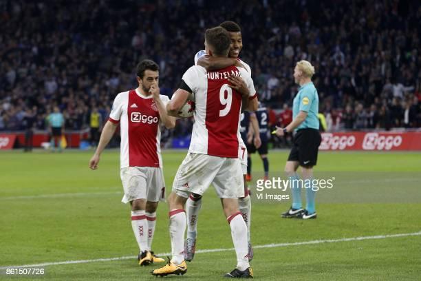Amin Younes of Ajax Klaas Jan Huntelaar of Ajax David Neres of Ajax during the Dutch Eredivisie match between Ajax Amsterdam and Sparta Rotterdam at...