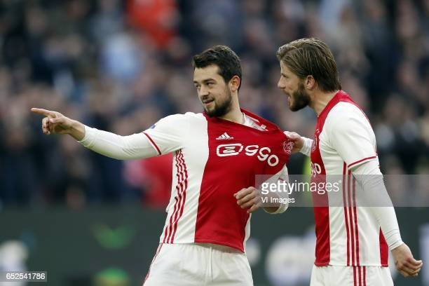 Amin Younes of Ajax Lasse Schone of Ajaxduring the Dutch Eredivisie match between Ajax Amsterdam and FC Twente Enschede at the Amsterdam Arena on...