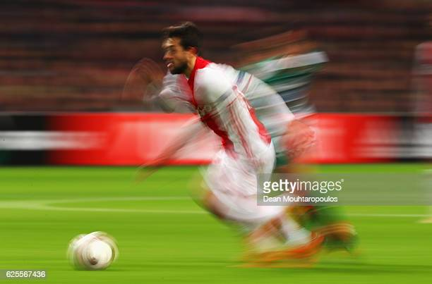 Amin Younes of Ajax runs with the ball during the UEFA Europa League Group G match between AFC Ajax and Panathinaikos FC at Amsterdam Arena on...